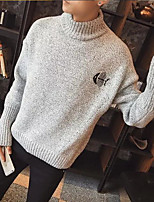 Men's Daily Long Pullover,Solid Animal print Turtleneck Long Sleeves Polyester Winter Fall Thick Micro-elastic