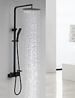 Matte Shower System Waterfall with  Ceramic Valve Single Handle Two Holes for  Black , Shower Faucet