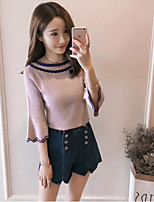 cheap -Women's Daily Going out Cute Autumn/Fall Blouse,Solid Round Neck ¾ Sleeve Cotton Acrylic Medium