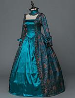 Vittoriano Rococò Donna Per adulto Vestito da Serata Elegante Stile Carnevale di Venezia Blu Cosplay Satin elasticizzato Manica lunga
