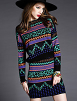 Women's Party Work Boho Street chic Sophisticated Winter Autumn/Fall Sweater Skirt Suits,Striped Round Neck Long Sleeves Others
