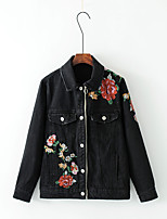 Giacca di jeans Da donna Casual Moda città Primavera Autunno,Tinta unita Con stampe Poliestere Altro Standard