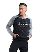 Men's Running T-Shirt Long Sleeves Trainer Fitness Hoodie for Running/Jogging Exercise & Fitness Cotton Black Black/Red Jacinth +Gray S M