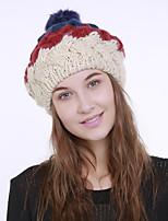 Недорогие -Для женщин Винтаж Очаровательный На каждый день Широкополая шляпа,Зима Акрил Романский трикотаж Цветочный Плетение Зеленый Оранжевый