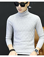 Men's Others Casual Regular Pullover,Solid Turtleneck Long Sleeves Polyester Autumn/Fall Medium Micro-elastic