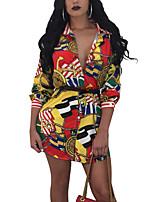 Women's Going out Plus Size Vintage Sexy Bodycon Dress,Print Shirt Collar Mini 3/4-Length Sleeve Polyester Mid Rise Micro-elastic Medium