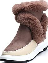 abordables -Mujer Zapatos PU Invierno Otoño Suelas con luz Botas Tacón Plano Dedo redondo Mitad de Gemelo Para Casual Negro Gris Caqui