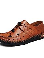 Herren Schuhe Leder Sommer Komfort Sandalen Schnürsenkel Für Normal Schwarz Gelb Braun