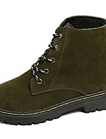 cheap -Women's Shoes Suede Winter Combat Boots Boots Round Toe Mid-Calf Boots For Casual Khaki Pink Green Black