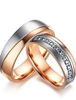 Homme Femme Bague de fiançailles Ensemble d'anneaux Zircon Strass Zircon Acier au titane Bijoux Pour Mariage Soirée