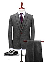Gray Solid Standard Fit Polyester Suit - Notch Single Breasted One-button