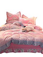 Duvet Cover Sets Florals 4 Piece Flannel Reactive Print Flannel 1pc Duvet Cover 2pcs Shams 1pc Flat Sheet