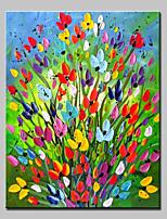 Ручная роспись Цветочные мотивы/ботанический Вертикальная,Простой Modern 1 панель Холст Hang-роспись маслом For Украшение дома