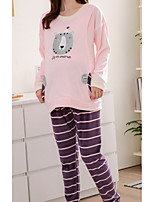 Nuisette & Culottes Pyjamas Femme,Imprimé Motif Animal Polyester Rose Claire