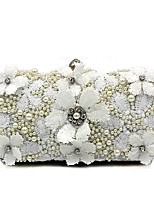 Women Bags All Seasons Polyester Evening Bag Flower(s) Pearl Detailing for Wedding Event/Party White