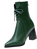 cheap -Women's Shoes PU Spring Fall Comfort Boots For Outdoor Green Black