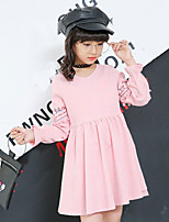 Girl's Daily Going out Solid Dress,Cotton Fall Long Sleeves Casual Blushing Pink Light Blue