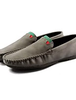 Men's Shoes PU Winter Fur Lining Moccasin Comfort Loafers & Slip-Ons For Casual Gray Black