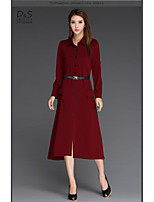 Women's Party Casual/Daily Swing Dress,Solid Shirt Collar Maxi Long Sleeve Polyester Fall Mid Rise Inelastic Opaque