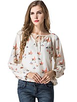 cheap -Women's Holiday Going out Cute Active Street chic All Seasons Blouse,Print Round Neck Long Sleeve Polyester Medium