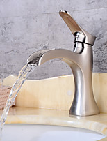 Centerset Waterfall Single Handle One Hole Nickel Brushed , Bathroom Sink Faucet