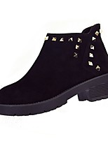 cheap -Women's Shoes Fleece Winter Fall Combat Boots Light Soles Boots Low Heel Round Toe Booties/Ankle Boots Beading For Casual Camel Gray Black