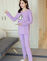 Nuisette & Culottes Pyjamas Femme,Imprimé Motif Animal Polyester Gris Violet