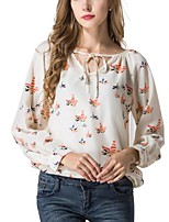 cheap -Women's Daily Work Sexy Street chic Blouse,Floral V Neck Long Sleeves Polyester Medium