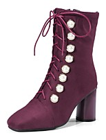 cheap -Women's Shoes Flocking Fall Winter Comfort Boots Chunky Heel Square Toe Beading For Outdoor Office & Career Purple Black