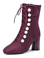 abordables -Femme Chaussures Flocage Hiver Automne Confort Bottes Talon Bottier Bout carré Billes Pour Noir Violet