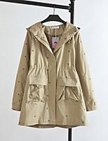 cheap -Women's Daily Simple Casual Winter Fall Trench Coat,Solid Polka Dot V Neck Long Sleeves Regular Cotton Polka Dots