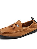 Men's Shoes Pigskin Spring Fall Moccasin Loafers & Slip-Ons Rhinestone For Casual Khaki Yellow Gray