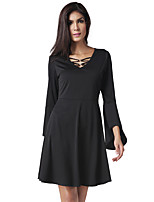 Women's Party Daily Vintage Casual Sexy Street chic A Line Loose Sheath Dress,Solid Vintage V Neck Above Knee Long Sleeve Cotton Polyester