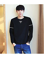 cheap -Men's Daily Casual Sweatshirt Letter Cotton Polyester Spandex