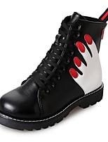 abordables -Femme Chaussures Polyuréthane Hiver Automne boîtes de Combat Semelles Légères Bottes Bout rond Bottine/Demi Botte Pour Décontracté Noir