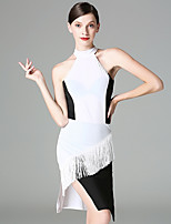Latin Dance Dresses Women's Performance Ice Silk Tassel(s) Sleeveless Dress