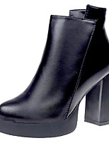 cheap -Women's Shoes PU Spring Fall Comfort Bootie Boots For Casual Black