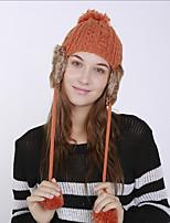 Для женщин Винтаж Очаровательный На каждый день Широкополая шляпа,Зима Акрил Романский трикотаж Цветочный Плетение Оранжевый Красный