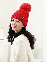 Для женщин Очаровательный На каждый день Широкополая шляпа,Зима Трикотаж Однотонный Трикотаж