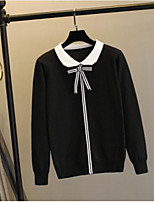 cheap -Women's Daily Cute Blouse,Solid Shirt Collar Long Sleeves Polyester