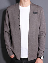 Men's Daily Wear Casual Regular Cardigan,Solid V Neck Long Sleeves Acrylic Fall Thin Stretchy