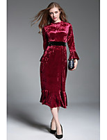 Women's Party Cute Shift Sheath Dress,Solid Print Round Neck Maxi Long Sleeve Polyester Fall Mid Rise Inelastic Opaque