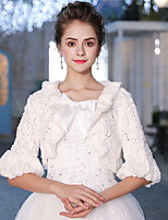 Half Sleeves Faux Fur Wedding Party / Evening Women's Wrap With Bow Ruffle Sided Hollow Out Shrugs
