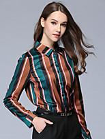 economico -Camicia Da donna Per uscire Casual Vintage Autunno,A strisce Monocolore Colletto 100% poliestere Manica lunga Sottile
