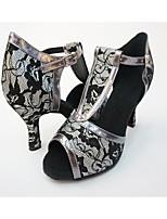 Women's Latin Lace Leatherette Heel Indoor Flower Splicing High Heel Gray Black