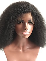 cheap -Women Human Hair Lace Wig Brazilian Human Hair Glueless Full Lace 150% Density With Baby Hair Kinky Curly Afro Curly Afro Kinky Wig Black