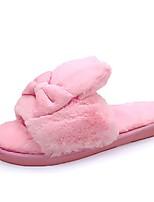 cheap -Women's Shoes Flocking PU Winter Fall Comfort Slippers & Flip-Flops Flat Round Toe For Casual Light Pink Pink Blue Fuchsia Gray