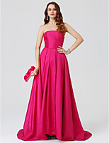 Ball Gown Strapless Sweep / Brush Train Taffeta Formal Evening Dress with Pleats Split Front by TS Couture®