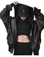 Women's Going out Casual/Daily Simple Active Spring Fall Leather Jacket,Solid Stand Long Sleeves Regular Synthetic Leather
