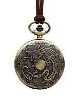 cheap -Men's Pocket Watch Chinese Quartz Large Dial Leather Band Vintage Cool Brown